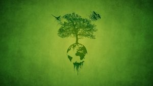 Green Earth with planted tree