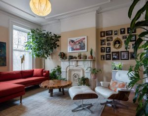 Living room with large plants